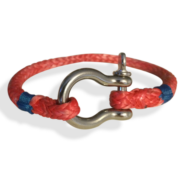 "Shackle Rope Bracelet, Halyard Style, 6.5"" to 8"" Wrist Size, Red"