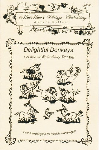 Delightful Donkeys Hot Iron Embroidery Transfers