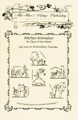 Animated Kitchen for Days of the Week Tea Towels Hot Iron Embroidery Transfers