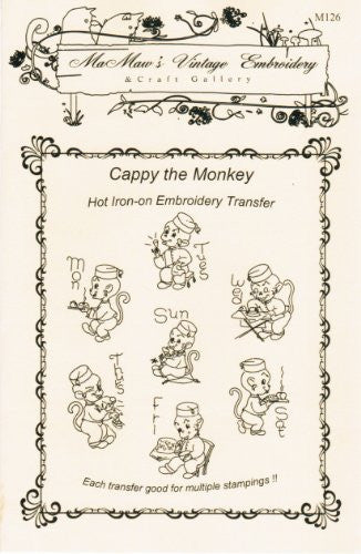 Cappy the Bellhop Monkey for Tea Towels Hot Iron Embroidery Transfers