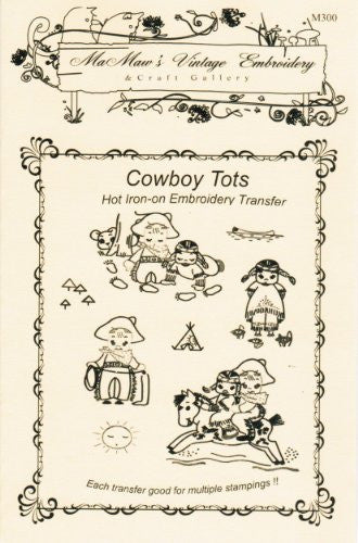 Baby Tots Cowboys & Indians Hot Iron Embroidery Transfers