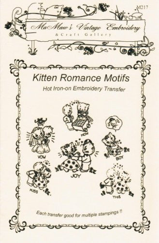 Kitten Romance for Tea Towels Hot Iron Embroidery Transfers