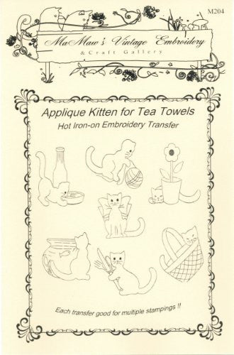 Applique Kittens Hot Iron Embroidery Transfers