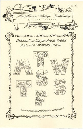 Decorative Days-of-the-week Hot Iron Embroidery Transfers
