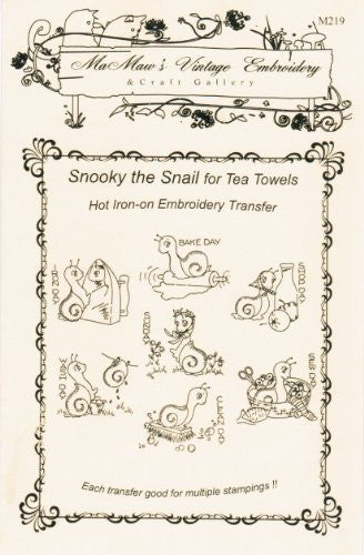 Snooky the Snail Hot Iron Embroidery Transfers