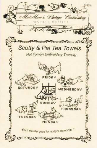 Scotty Dog & Playful Kitten Tea Towels Hot Iron Embroidery Transfers