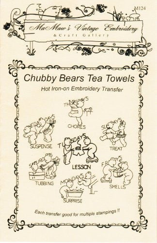 Vintage Chubby Bears Hot Iron Embroidery Transfers