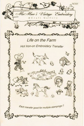 Life on the Farm Hot Iron Embroidery Transfers