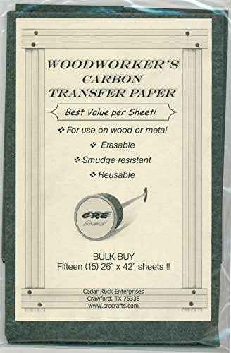 "BULK BUY Carbon Transfer Tracing Paper for Woodworking Patterns (15 Sheets - 26"" X 42"" Per Sheet)"