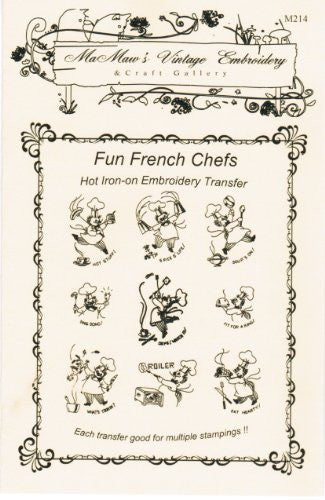 Fun French Chefs Hot Iron Embroidery Transfers
