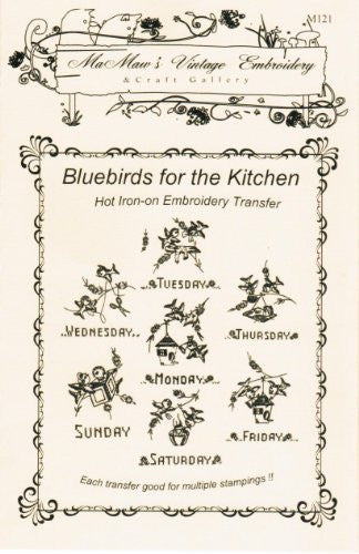 Bluebirds for the Kitchen Days-of-the-Week Hot Iron Embroidery Transfers