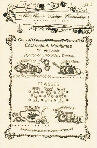 Cross-stitch Mealtimes for Tea Towels Hot Iron Embroidery Transfers