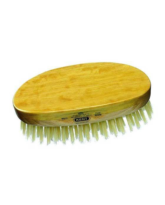 Kent Military Brush, Oval, White Bristles, Satinwood