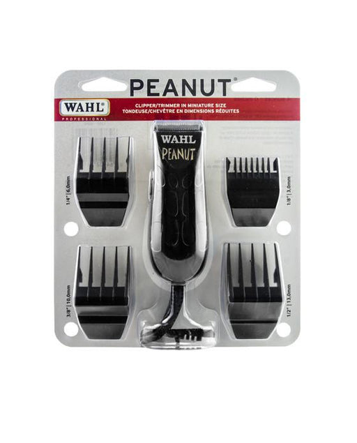 "The Wahl Black Peanut Trimmer is a premium corded clipper/trimmer with a rotary motor. It is ergonomic and lightweight at on 4 ounces and 4 inches, yet it retains all the power of a full sized clipper. It is a high precision snap-on and snap-off blade for cutting and highly detailed finishing.  Includes 4 guides - 1/8"" to 1/2""."