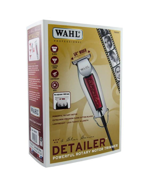 "Description & Features:  Are you looking for a lightweight, high precision detailer trimmer? Look no further, than the Wahl 5 Star. It is a corded operation with a powerful rotary motor trimmer and an adjustable T-wide blade. The extra-wide precision close-cutting blade is 1/4"" wider and is fixed at ""zero overlap"" for the closest trim.  Includes 3 T-shaped guides - 1/16"" to 1/4"".  Kit Includes:  Professional Trimmer 3 Trimming Guides (1/6"" - 3/16"" ) Oil Cleaning Brush Operating Instructions Red Blade Guard"