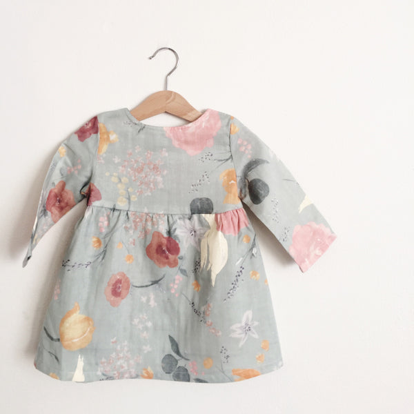 Talaria Girls Dress Nani Iro Naomi Ito Fuccra Grey Floral Made in Australia Baby Toddler Long Sleeve