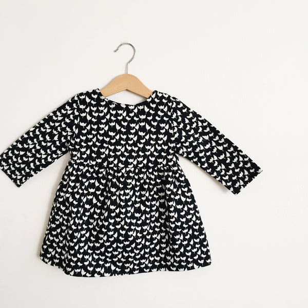 Talaria Girls Dress Black and White Monochrome Flowers Made in Australia Baby Toddler Long Sleeve