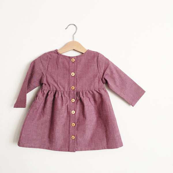 Talaria Girls Dress Eggplant Plum Made in Australia Baby Toddler Long Sleeve