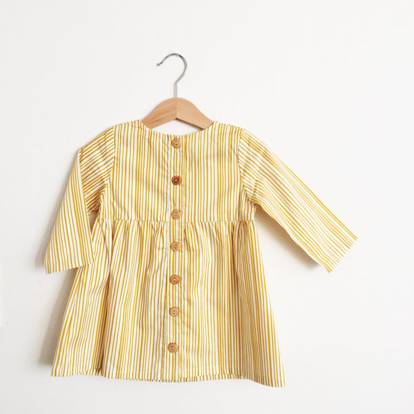 Talaria Girls Dress Yellow Stripes Made in Australia Baby Toddler Long Sleeve