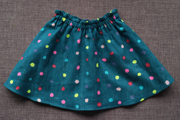Talaria Girls Savannah Twirly Skirt Nani Iro Neon Dots