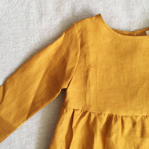 Mimi Dress | Gold Linen