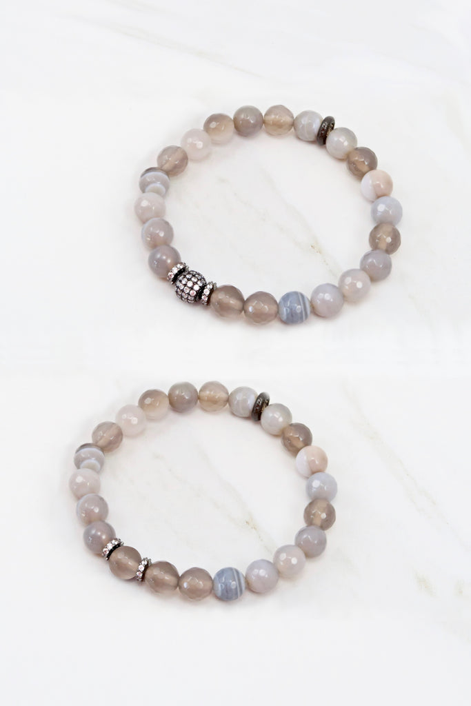 KENNEDY GUNMETAL banded agate/gray agate