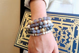 KENNEDY GOLD banded gray agate/larvikite Bracelet by NICOLE LEIGH Jewelry