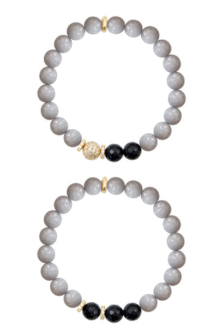 KENNEDY GOLD gray jade/onyx Bracelet by NICOLE LEIGH Jewelry