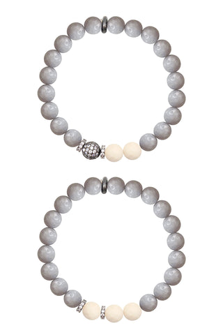 KENNEDY GUNMETAL gray jade/riverstone Bracelet by NICOLE LEIGH Jewelry