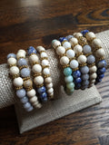 KAT GOLD gray jade/riverstone Bracelet by NICOLE LEIGH Jewelry