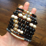 KENNEDY GOLD onyx/riverstone Bracelet by NICOLE LEIGH Jewelry