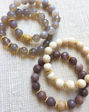 LYLA GOLD purple aventurine/matte purple aventurine