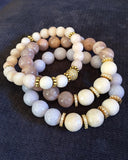 KAT GOLD champagne pink jade/riverstone Bracelet by NICOLE LEIGH Jewelry