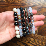 KENNEDY GUNMETAL milky agate/gray agate Bracelet by NICOLE LEIGH Jewelry