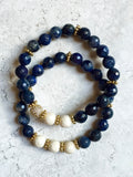 KAT GOLD dumortierite/riverstone Bracelet by NICOLE LEIGH Jewelry
