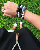 KENNEDY GUNMETAL gray jade/onyx Bracelet by NICOLE LEIGH Jewelry