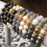 NORA GOLD gray agate/riverstone