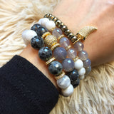 KACIE GOLD white lace agate/gray agate Bracelet by NICOLE LEIGH Jewelry