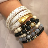 KENNEDY GUNMETAL riverstone/gray agate Bracelet by NICOLE LEIGH Jewelry
