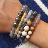 SOPHIA GOLD gray agate/riverstone