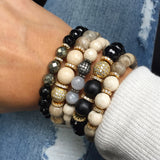 KENNEDY GOLD onyx/pyrite Bracelet by NICOLE LEIGH Jewelry