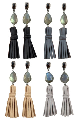 ELLA LABRADORITE gunmetal Earrings by NICOLE LEIGH Jewelry