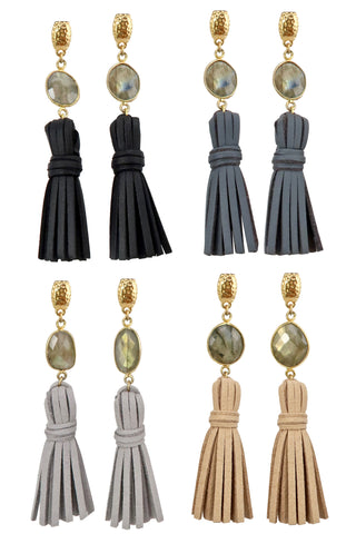 ELLA LABRADORITE gold Earrings by NICOLE LEIGH Jewelry