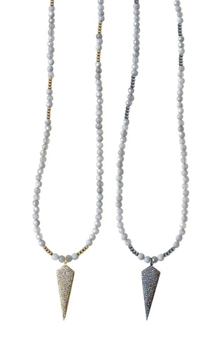 HARLOW light gray jade Necklace by NICOLE LEIGH Jewelry