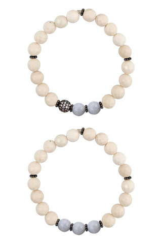 KAT GUNMETAL riverstone/gray jade Bracelet by NICOLE LEIGH Jewelry