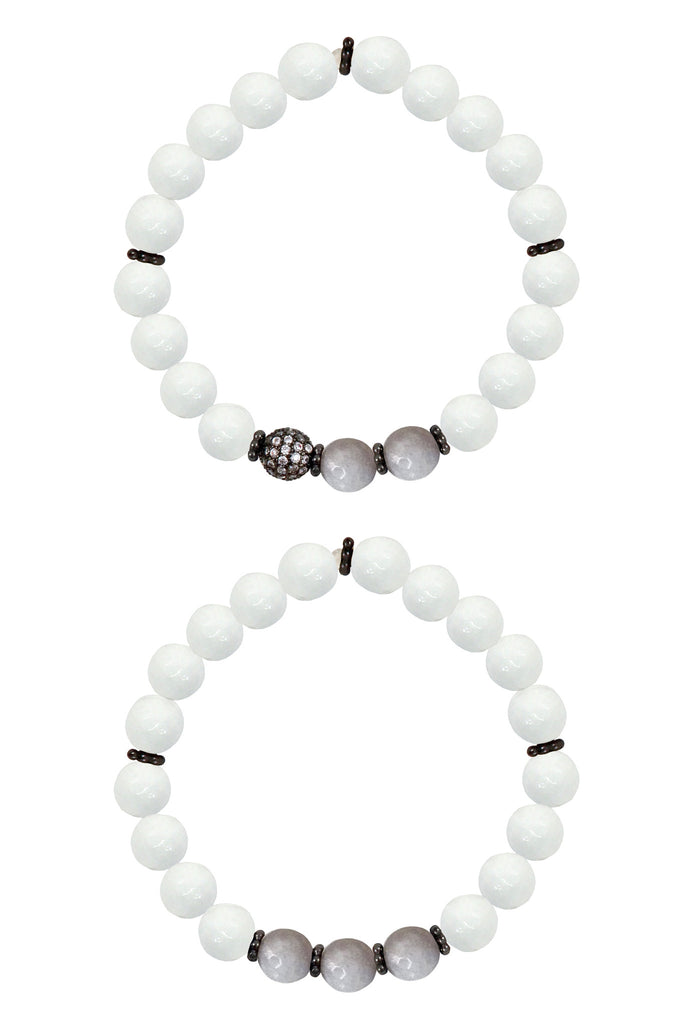 KAT GUNMETAL white jade/gray jade Bracelet by NICOLE LEIGH Jewelry