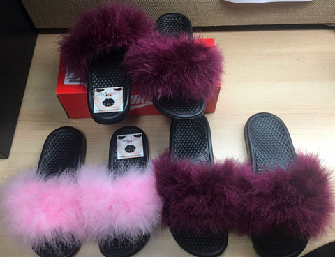 6c8b9707c2565a Custom Nike Faux Fur Slides – Pretty Addict