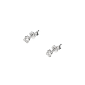 Crystal Stud Earrings - 14 karat white gold