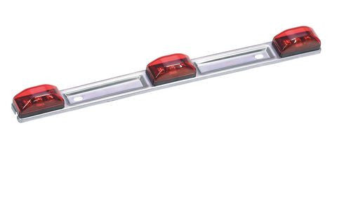 LED 3-Light Bar, Trailer Identification Light w/Stainless Steel Base # ID-86020-R - Pacific Boat Trailers