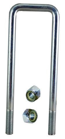 "1/2"" Square Zinc Plated Trailer U-Bolt w/lock nuts A=2 1/4"" B=7 1/2"" - Pacific Boat Trailers"